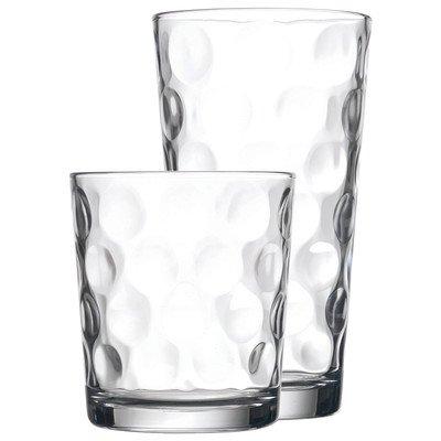 16-piece Elegant Eclipse Glassware Set - 8 Cooler Glasses and 8 DOF Glasses Drinking Glasses Set of 16
