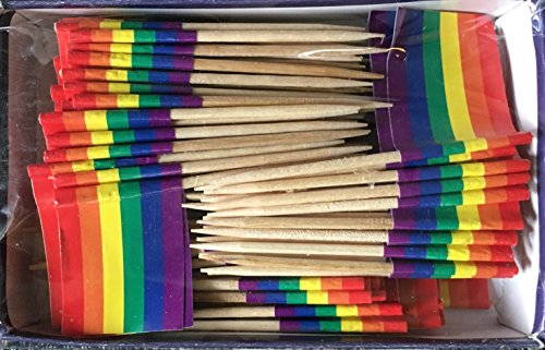 Rainbow Flag Toothpick Box of 100 Toothpicks Multi Cultural Events - Food Picks for Parties Cocktails Cupcakes - Wood Toothpick and Paper Flag - Gay Pride LGBT