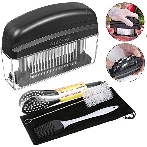 AmHoo Professional Needle Meat Tenderizers48 Ultra Sharp Stainless Steel Blades Tool For Tenderizing ChickenSteakBeefPork - Best Kitchen Accessories Including Cleaning BrushFood ClipStorageBag