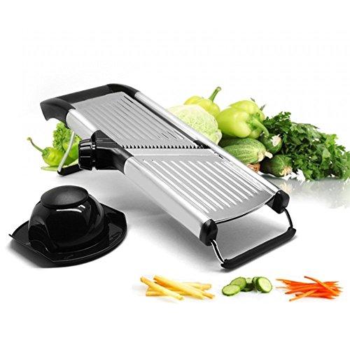 Vegetable and Fruit Mandolin Slicer  Stainless Steel Julienne Veggie Cutter  Professional Kitchen Slicing Tool with Adjustable Blades  Hand Guard