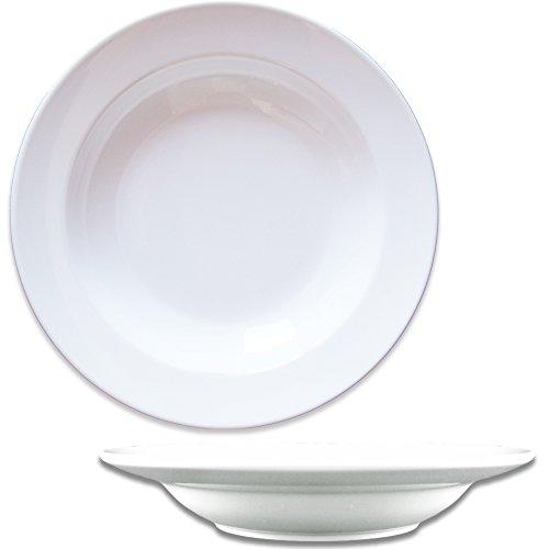 Dauerhaft Dinnerware Rim Soup Plate 9 Porcelain Soup Bowl 135 oz Bright White Restaurant Durable Quality Set of 12