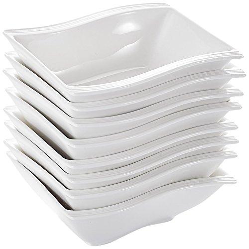 Malacasa 8 Piece China Ceramic Rectangle Ivory Porcelain Dessert Dinnerware Tableware Cereal Soup Bowl Cream White