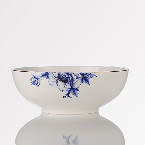 Porlien Elegance Dinnerware Set Collection Blue Floral Gold Trimmed Porcelain Salad BowlSoup Bowl - 42 Oz 8 Serving Bowl for Family Party As Holiday Gifts for Friends Home Décor