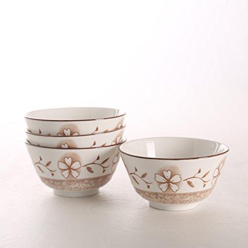 SOLECASA 8-OZSet of 4 Printed CerealPastaSoupSaladRice BowlRound Dinner Serving Bowl Set Utility PorcelainCeramic Bowl Set