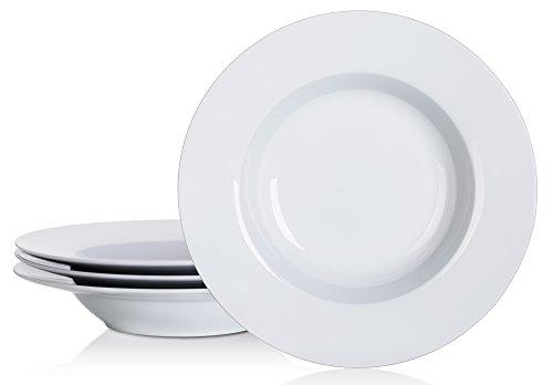 YHY 8-14-inch Porcelain Soup Bowl SetRim Pasta Bowls White Set of 4