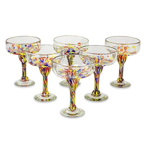 NOVICA 251970 Confetti Festival Blown Margarita Glasses 7 inch Tall Clear 13 oz Set of 6
