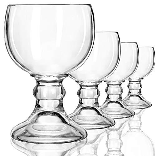 Schooner Beer Glasses Set - 21-ounce Large Margarita Glass Big Goblet Style Beer Glass for Coronarita Fish Bowl Glasses for Drinks - Set of 4