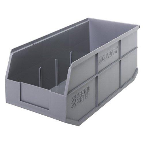 18 L x 8-14 W x 7 H Gray Stackable Shelf Bin 1 Bin