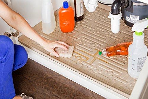 Xtreme Mats Under Sink Kitchen Cabinet Mat 33 58 x 21 78 Beige