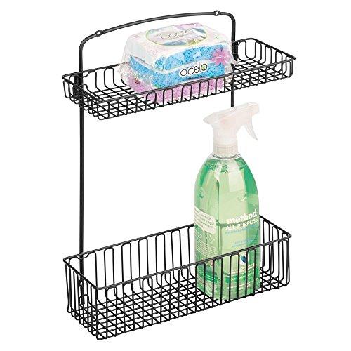 mDesign Under-Sink Storage Organizer Shelf for Dish Soap Sponges Cleaning Supplies - WallCabinet Mount 2-Tier Matte Black