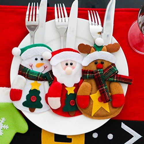 Christmas Cutlery Holder Knifes Fork Bag Santa Claus Snowman Elk Shaped Christmas Party Decoration for Hotel Restaurant Wedding 3pcs