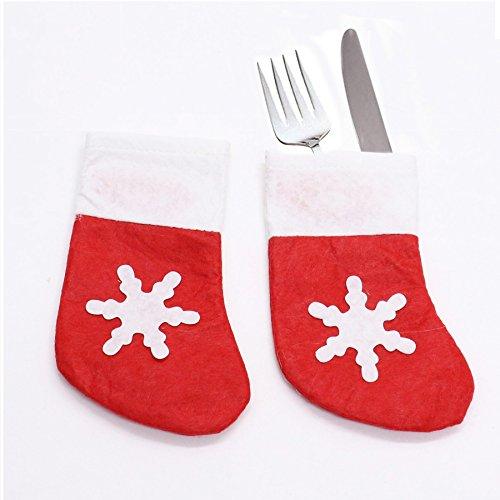 HUELE 15 PCS Christmas Cutlery Silverware Holders Stocking Snowflake Tableware Cutlery Bags Xmas Decoration