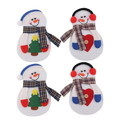UEETEK 4pcs Christmas Little Snowman Silverware Cutlery Holder Pockets Christmas Dinner Party Decoration Random Color