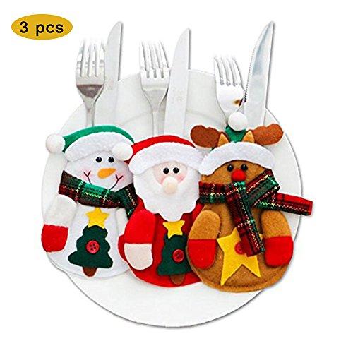 Christmas Cutlery Bag Christmas Dinnerware Tableware Holder Snowman Reindeer Santa Knifes Forks Bag Christmas Party Decoration 3Pcs