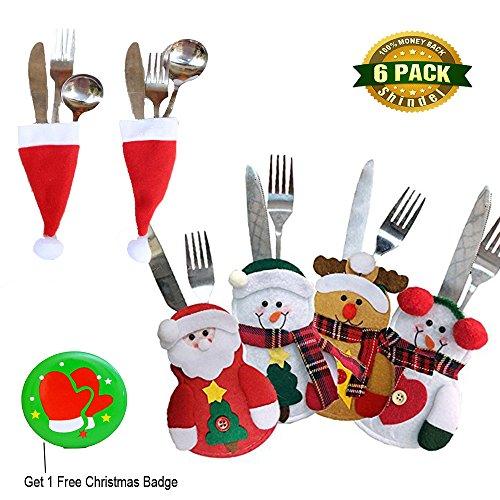Christmas Cutlery Bag Forks Knives Dinner Flatware Snowman&Santa Claus&Deer Santa Hat Tableware Sets Christmas Party Decoration 6 PCS
