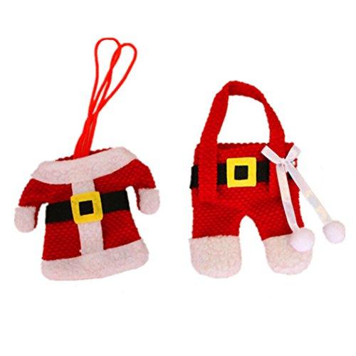 Christmas Santa Suit Décor Tableware Holder Pocket Cutlery Holder for Table Dinner Decoration