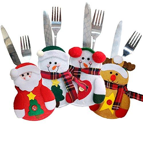 Christmas Tableware Holder Pocket Cutlery Holder for Table Dinner Decoration 4pcsSnowman Design