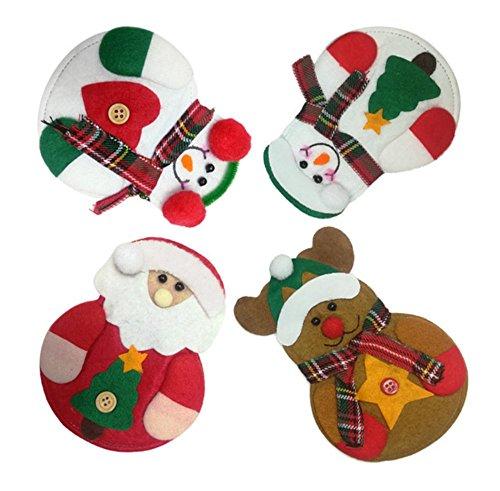 JKLcom 4 pcs Christmas Cutlery Bag Kitchen Cutlery Suit Silverware Holders Pockets Knifes Forks Bag