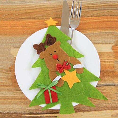 Oksale Christmas Tree Shape Knife and Fork Bag Table Cutlery Bag Tableware Organizers Knife and Fork Holder Pocket C