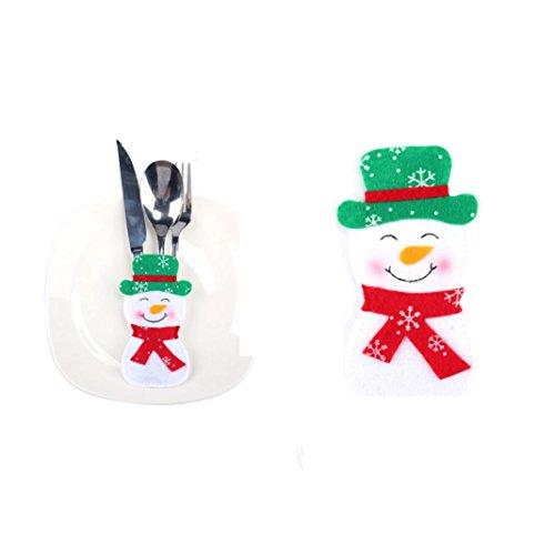 Quartly Christmas Tableware Knife Forks Bags Silverware Holders Pockets Christmas Dinner Cutlery Decoration Snowman Elk Santa Claus Bag B