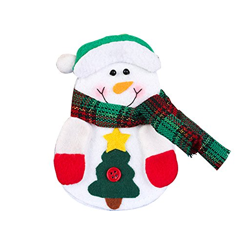 tueselesoleil Christmas Cutlery Bag Knife Fork Pockets Tableware Holder Snowman Santa Elk size Snowman