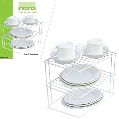 2 Tier Corner Shelf Counter Cabinet Organizer Kitchen Storage Rack Dishes