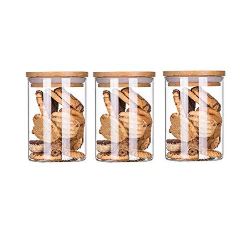 BOJI Storage Box Food Storage Containers Sealed Food Storage Natural Bamboo Lids Keeps Food Fresh Dry 3 Packs Food Savers Storage Containers Color  500ml3