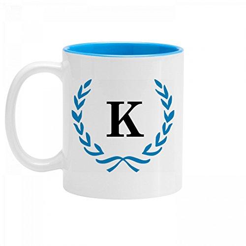 Wreath Initial K Coffee Mug 11oz Two Tone Ceramic Coffee Mug
