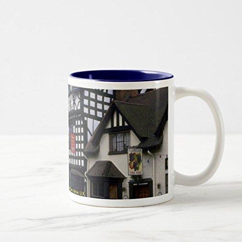 Zazzle Tudor House Inn Warwick Warwickshire Uk Coffee Mug Navy Blue Two-Tone Mug 11 oz