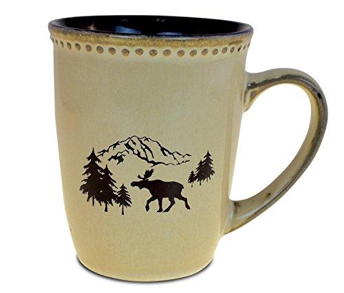 CoTa Global Ceramic Mountain WildMoose Imprint Mug Animal Theme Coffee Milk Tea Tumbler Indoor Outdoor Glassware Drinkware Travel Cup with Handle Dishwasher Microwave Safe 11 Ounce