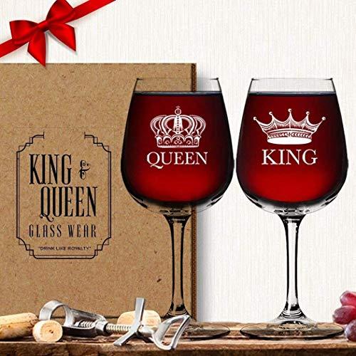 King Queen Wine Glass Set 2 Pack - Couples Newlyweds Wedding Gift - For Anniversary Engagement Housewarming Birthday Bridal Wife Girlfriend Husband - Fun Novelty Vino Drinkware Glassware