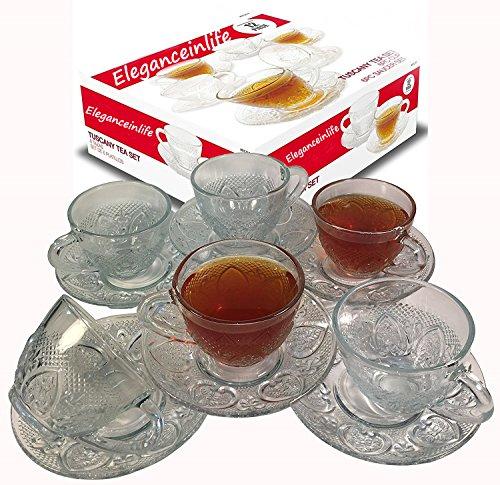 Cup Saucer Set Glass Tea Coffee Cup Glass Saucer 12 Piece Cup Saucer Set