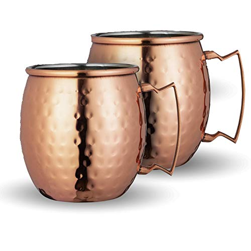 Chefs Star Set of 2 Handmade Hammered Copper Moscow Mule Mug - 100 Pure Copper with Brass Handle - Hammered Moscow Mule Mug Cup