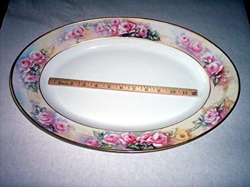 12x18 Large Serving Platter CF Haviland Limoges France porcelain Hand-painted signed E B Wile Roses- intricate detailed yet soft gold rim for Turkey Ham Etc