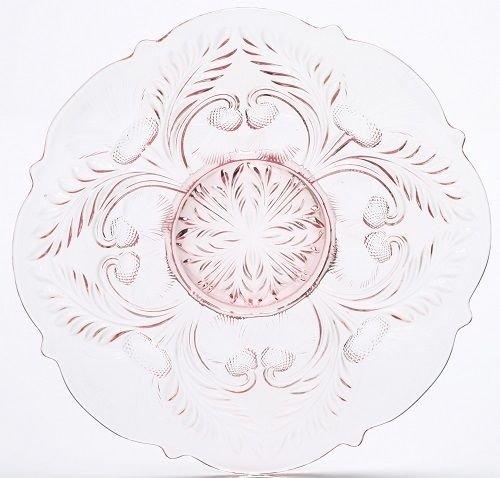 Large Serving Platter Plate - Inverted Thistle - Mosser Glass - USA Rose Pink