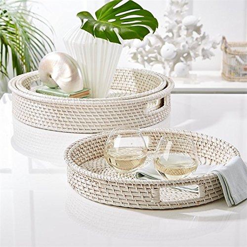 Tozai Artisanal White Rattan Set of 3 Woven Round Serving Trays