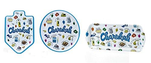 Hanukkah Serving Set Includes Platter Tray and Dreidel Shape Server Melamine