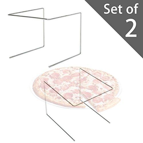Set of 2 Metal Pizza Pan Riser Stands Tabletop Food Platter Tray Display Racks Silver