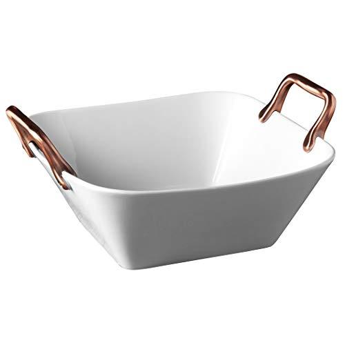 Denmark White Porcelain Chip Resistant Serveware Platter Serving Bowls with Copper Handles Deep Square Serving Tray