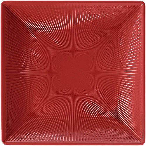 Elite Global Solutions M11SQT-CBR Sunburst II Collection Square Serving Platter in Cranberry Melamine 11L x 11W x 1 34H
