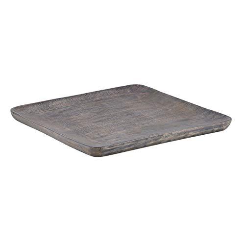 Mango Wood Tray - Decorative Gray Square Serving Platter 10 34 Inch