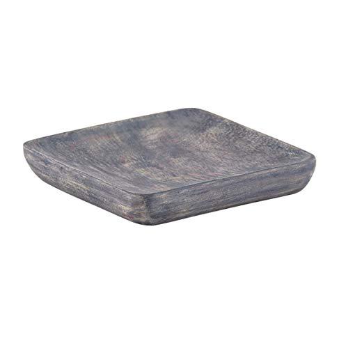 Mango Wood Tray - Decorative Gray Square Serving Platter 5 Inch