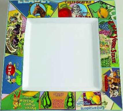 Vintage Labels 15 Inch Square Serving Platter