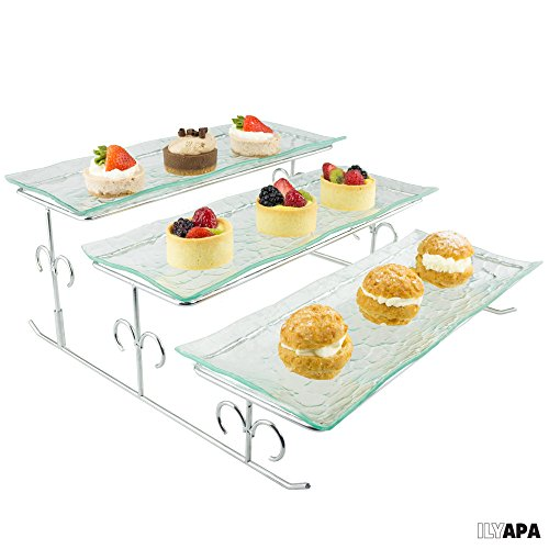 3 Tier Server - Tiered Serving Platter Stand Trays - Perfect for Cake Dessert Shrimp Appetizers More
