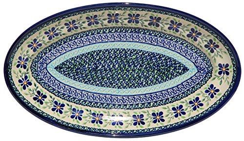 Polish Pottery Large Oval Serving Platter From Zaklady Ceramiczne Boleslawiec 1104-du121 Unikat Pattern Dimensions 14 Inch X 8 Inch