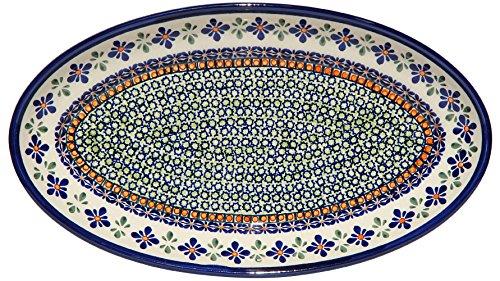 Polish Pottery Large Oval Serving Platter From Zaklady Ceramiczne Boleslawiec 1104-du60 Unikat Pattern Dimensions 14 Inch X 8 Inch