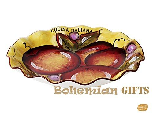 Classic Cucina Italiana Large Ceramic Scalloped Round 13 Inch Pasta Serving Bowl Salad Bowl Honey Fruit Décor