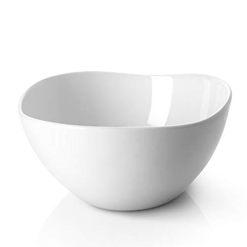 DOWAN Large Serving and Mixing Bowls 3 Quarts Porcelain Bowl for Salad Pasta Fruit Set of 2 White