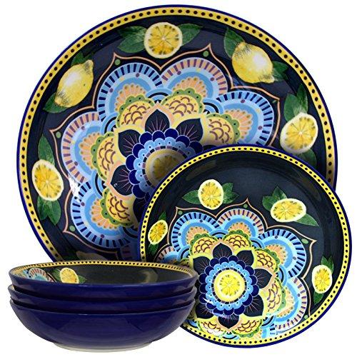 Elama Luna De Lemon Assorted Stoneware Pasta Serving Bowl Set 5 Piece Blue and Yellow