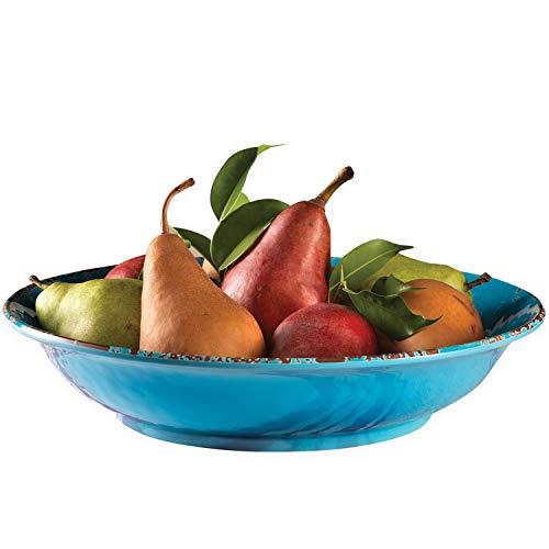 Fruit Bowl Vintage Distressed Serving Pasta Salad Dish Melamine 13 Inch EXULTIMATE